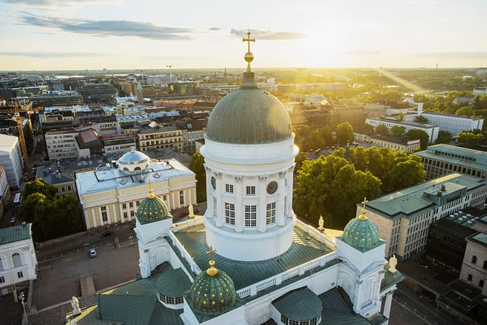 Helsinki cathedral aerial view