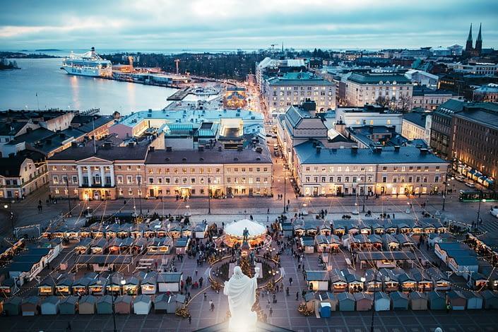 Helsinki Christmas market aerial view