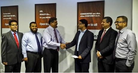 (From left to right: Naushad Khan - Head of Insurance Analytics at GrayMatter, M.S.M. Iqbal - Head of IT Amana Takaful, Fazal  Ghaffoor  - CEO at Amana Takaful, Vikas Gupta –  CEO & CTO  at GrayMatter, Chandri Gunawardhana – Founder & Principal Consultant for Global Business Counselling, Reyaz Jeffrey - GM Life  at Amana Takaful.)