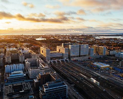 aerial view of Pasila, Helsinki