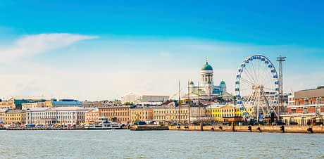 Panorama Of Embankment In Helsinki At Summer Sunset Evening, Sunrise Morning, Finland. Cityscape View From Sea