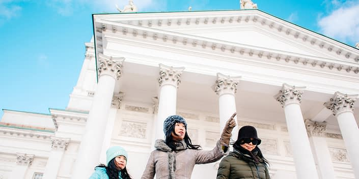 Chinese tourists in front of Helsinki Cathedral