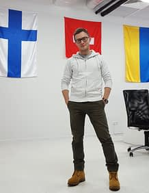 """""""Our product is designed to make game advertising significantly cheaper and more efficient,"""" says Dmitry Sverdlik CEO of Madberry. The advertising technology startup has its origins in the US and Ukraine and opened its headquarters in Helsinki in September. Photo: Madberry"""