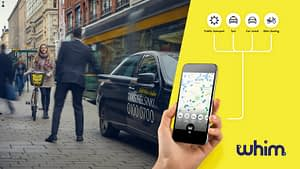 Whim app, person getting on a taxi