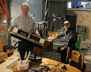 Mikko Valtonen and Petteri Kontio in Wall Robotics' manufacturing facilities in Espoo.
