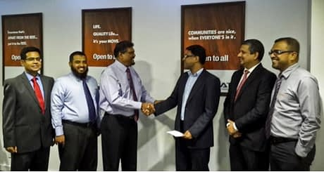 (From left to right: Naushad Khan - Head of Insurance Analytics at GrayMatter, M.S.M. Iqbal - Head of IT Amana Takaful, Fazal  Ghaffoor  - CEO at Amana Takaful, Vikas Gupta –  CEO & CTO  at GrayMatter, Chandri Gunawardhana – Founder & Principal Consultant for Global Business Counselling, Reyaz Jeffrey - GM Life  at Amana Takaful.)