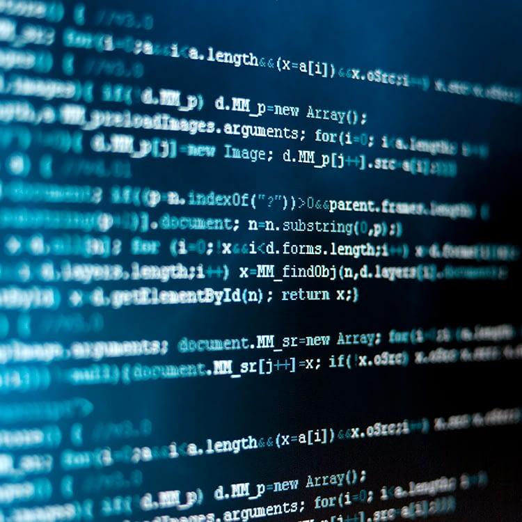 HTML code over deep blue background